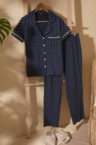 Trendyol Knitted Pyjamas Set with Navy Polkado Tare TInt dámské S