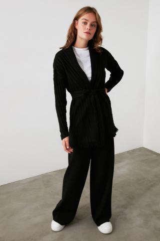 Trendyol Knitwear Cardigan with Black Tassels and Binding Detail dámské M