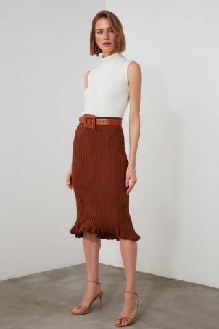 Trendyol Knitwear Skirt with Brown Hem Flywheel dámské S