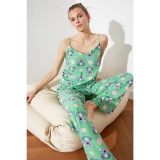 Trendyol Koala Patterned Ruffled Woven Pyjama Set dámské Multi 34