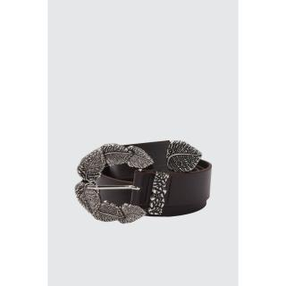 Trendyol Leather Looking Belt with Bitter Brown Buckle dámské S