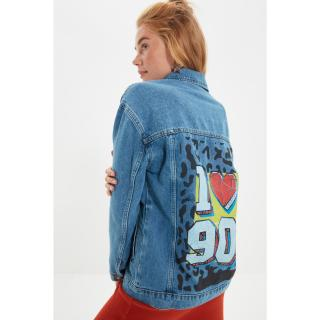 Trendyol Light Blue Back Printed Denim Jacket dámské Other XS