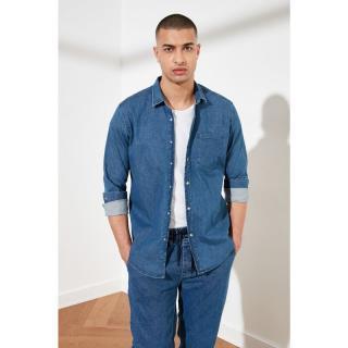 Trendyol Light Blue Male Denim Slim Fit Single Pocket Long Sleeve Shirt AÇIK MAVİ S