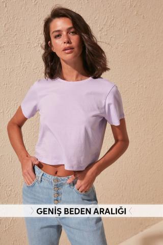 Trendyol Lila 100% Cotton Bike Collar Crop Knitted T-Shirt dámské Lilac XS
