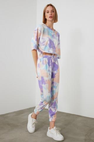 Trendyol Lila Batik Pattern Knitted Bottom-Top Suit dámské Lilac XS