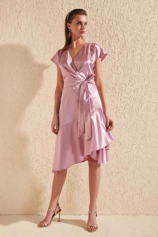 Trendyol Lila Belt Flywheel Detailed Dress dámské Lilac 34