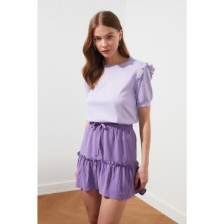 Trendyol Lila Brode Detailed Basic Knitted T-Shirt dámské Lilac S