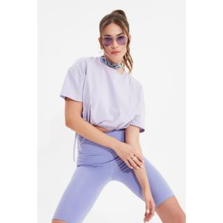 Trendyol Lila Crop Gathered Detailed Knitted T-Shirt dámské Lilac XS
