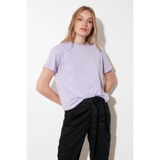 Trendyol Lila Embroidered Semifitted Knitted T-Shirt dámské Lilac S