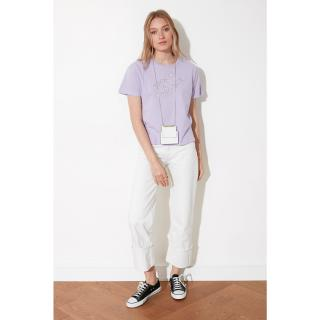 Trendyol Lila Embroidered Semifitted Knitted T-Shirt pánské Lilac S