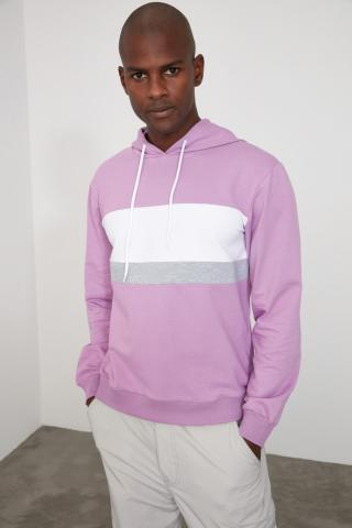 Trendyol Lila Mens Panel Hooded Regular Sweatshirt pánské Lilac S