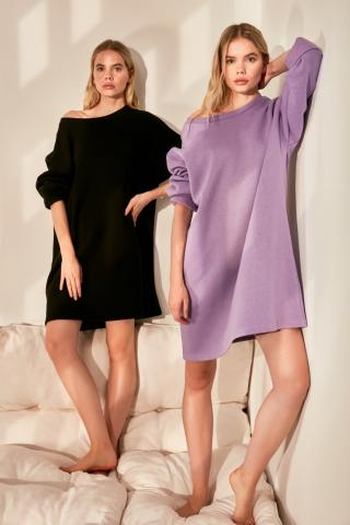 Trendyol Lila Oversize Knitted Dress dámské Lilac One size