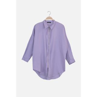 Trendyol Lila Shirt Collar Zipper Detailed Tunic dámské Lilac 36