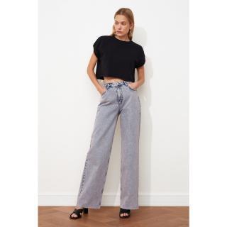 Trendyol Lila Trotter Cut High Waist Wide Leg Jeans dámské Lilac 40