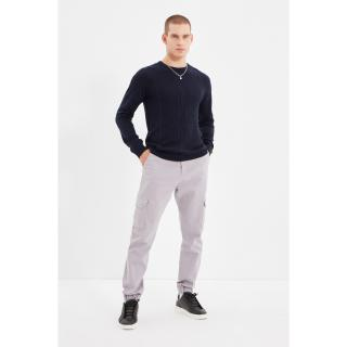 Trendyol Lilac Mens Cargo Belt Waisted Double Covered Pockets Elastic Leg Trousers pánské Other 38
