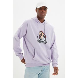 Trendyol Lilac Mens Licensed Tasmania Devil Printed Oversize Hoodie Sweatshirt pánské Other XL