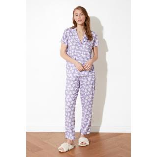 Trendyol Lilac Patterned Knitted Pyjama Set dámské M