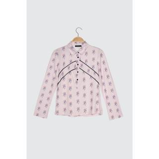 Trendyol Lilac Printed Shirt Collar Knitted Blouse dámské L