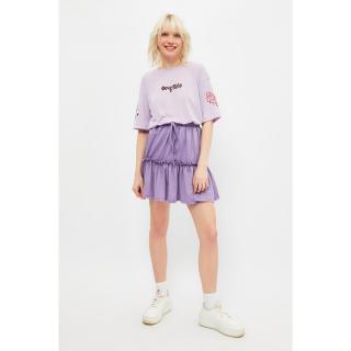 Trendyol Lilac Ruffle Knit Skirt dámské S