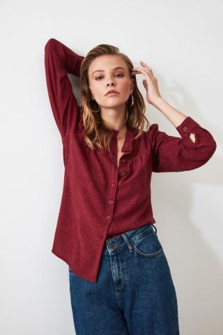 Trendyol Maroon Whip shirt dámské Burgundy 34