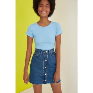 Trendyol Mini Denim Skirt with Blue Front Button dámské Navy 34