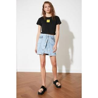 Trendyol Mini Denim Skirt WITH Blue Front Button dámské Navy 34
