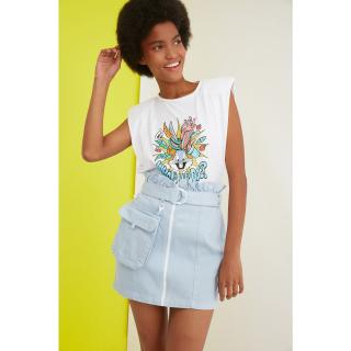 Trendyol Mini Denim Skirt WITH Light Blue Belt and Mini Bag dámské AÇIK MAVİ 40