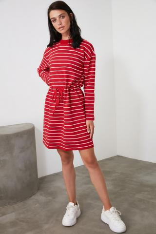 Trendyol Mini Knitted Dress With Red Striped Binding DetailING dámské XS