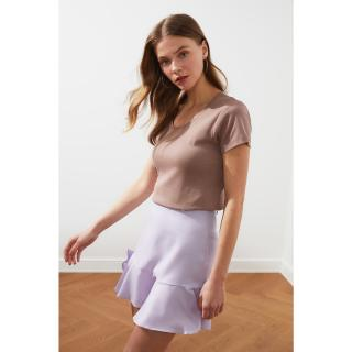 Trendyol Mink 100% Cotton Ribana Pool Collar Basic Knitted T-Shirt dámské XS