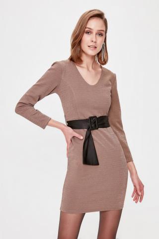 Trendyol Mink Belt Detailed Dress dámské 34