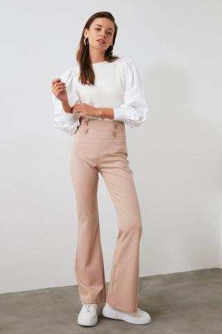Trendyol Mink Button Detailed Pants dámské 38