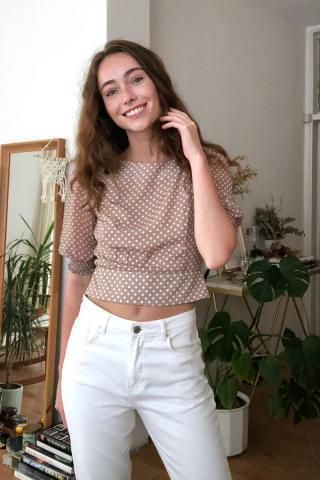 Trendyol Mink Crop Blouse dámské 36
