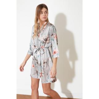 Trendyol Mink Flower Pattern Woven Robe dámské L