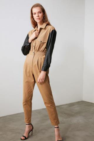 Trendyol Mink Sleeve Detailed Jumpsuit dámské 34