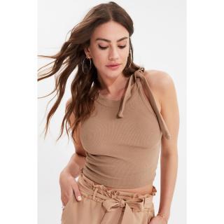 Trendyol Mink Tie Detailed Knitted Blouse dámské S
