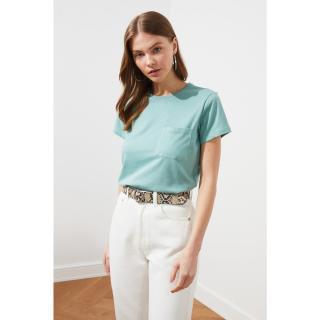 Trendyol Mint 100% Cotton Süprem Bicycle Collar Pocket Basic Knitted T-Shirt dámské S