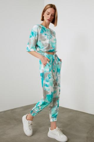 Trendyol Mint Batik Pattern Knitted Bottom-Top Suit dámské XS