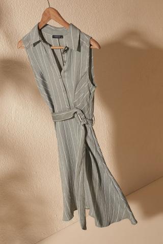 Trendyol Mint Belted Striped Dress dámské 34