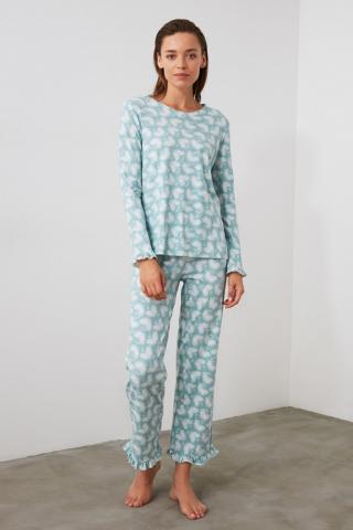 Trendyol Mint Printed Knitted Pyjamas Kit dámské XS