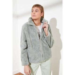 Trendyol Mint Right Collar Zip Closed Fur Coat dámské XS