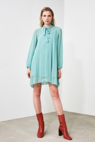 Trendyol Mint Scarf Collar Plise Dress dámské 34