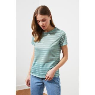 Trendyol Mint Striped Basic Knitted T-Shirt dámské XS