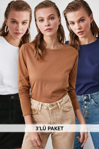 Trendyol Multi-Color 3-pack bike collar basic knitted T-Shirt dámské S