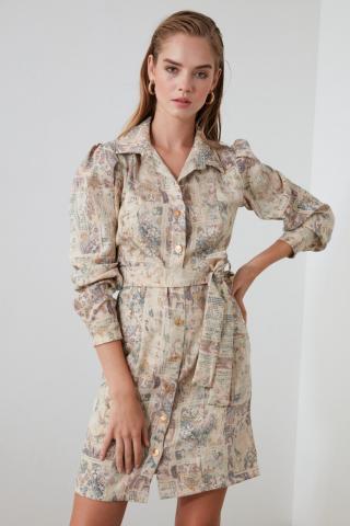 Trendyol Multi-Color Belt Patterned Dress dámské 34