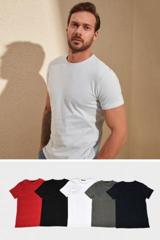 Trendyol Multi-Coloured 5 Mens Basic Bicycle Collar Short Sleeve Supremacy T-Shirt pánské XL