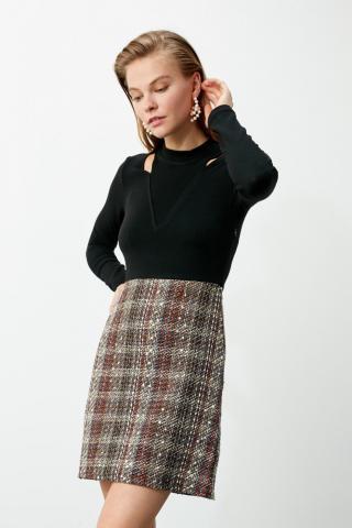 Trendyol MultiColor Collar Detailed Tweed Dress dámské 34