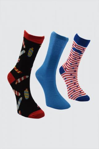 Trendyol MultiColor Mens Jacquard 3 Pack Socket Socks pánské One size