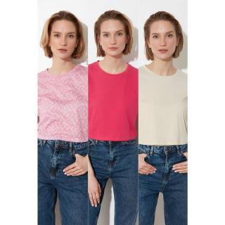 Trendyol MulticolorEd 3-Pack Knitted T-Shirt dámské S