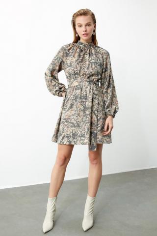 Trendyol MultiColored BeltEd Upright Neck Line Dress dámské 34