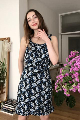 Trendyol MultiColored Beltflower Patterned Dress dámské 34